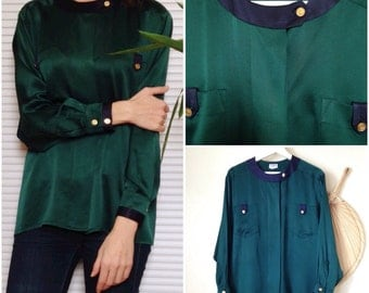 CHANEL Paris blouse vintage Pine Green and Navy blue silk (42 Fr)