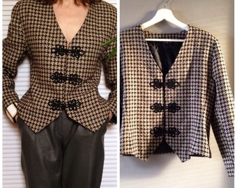 Jacket blazer vintage Tweed houndstooth beige and black trimmings ground (38/40 - M)