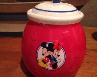 Vintage minnie and mickie cookie treat jar
