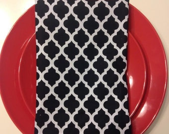 Black and White Cloth Napkins-Set of Six