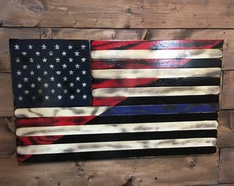 Merveilleux Tattered Split American U0026 Thin Blue Line   American Flag   Military Veteran  Made  Torched