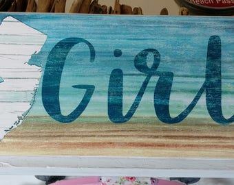 Jersey Girl Wood Beach Sign and Jersey Shore Art Sign