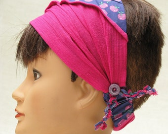 Pink headband, colorful apples pattern, girl camp bandana, hair accessory made in Canada by ClemenceAccessories