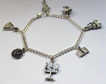 Beauty And The Beast Bracelet, Beauty And The Beast Charm Bracelet, Beauty Beast Jewellery, Charm Bracelet, Fandom Jewellery, Silver Charm