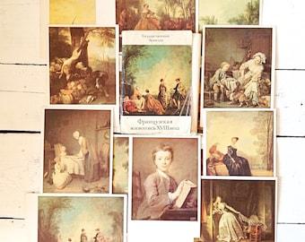 Vintage art French painting Art Illustration card set Antique french Art postcards Vintage postcard art French Portrait painting Hermitage