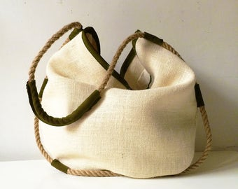 Jute tote bag gifts for her, suede bag with hemp rope, handmade womens clothing, womens tote bag made in italy
