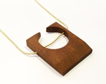Geometric wooden necklace, Eco friendly necklace, recycled wood, RoseWood, Talales