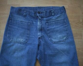 Vintage High Waisted Wide Leg Jeans / Denim Pants // Women's 33 Inch Waist Jeans // Vintage Sailors High Waist // Military Utility Trousers