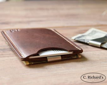 Minimalist Money Clip Wallet, Money Clip Card Sleeve, Card Wallet Money Clip, FREE MONOGRAM, Awesome Gift Wallet