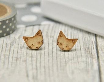 Cute Geometric Cat Wooden Lasercut Stud Earrings, cat earrings, cat gifts, wooden earrings, cat studs