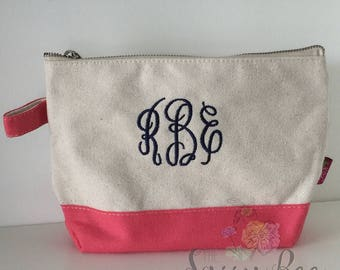 Monogrammed Makeup Bag, Monogrammed Cosmetic Bag, Jute Makeup Bag, Cosmetic Bag