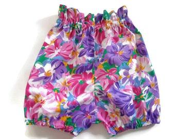 Girls bloomers, girls shorts, floral shorts, girls clothing, vintage inspired, paperbag waist, gifts for her, girls fashion, toddler shorts