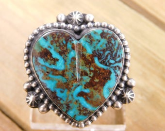 Sterling Silver Heart Shaped Turquoise Ring Size 10