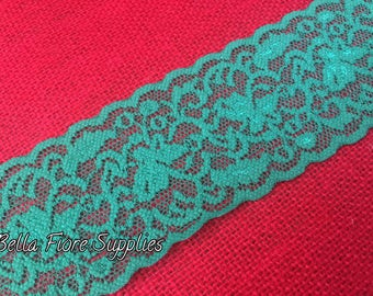 Green Stretch Lace Trim- Shamrock Green Lace- Wide Stretch Lace- Wholesale Lace- DIY Headband- St Patricks Day Lace