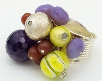 Adjustable Wide Band Sterling Silver Ring with Amethyst, Crystal and Glass Beads
