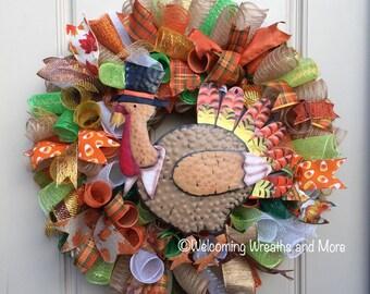 Turkey Wreath, Thanksgiving Wreath, Turkey Mesh Wreath, Fall Wreath, Fall Mesh Wreath, Thanksgiving Mesh Wreath, Thanksgiving Decor