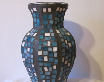 "Turquoise and White 10 1/2"" x 6"" Stained Glass Mosaic Vase"