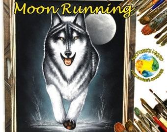 Wolf W/ Moon Running Oil Velvet Painting #WWMR