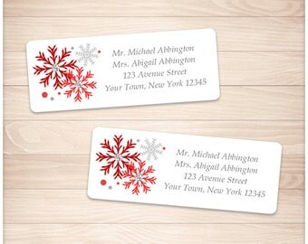 """Printable Red Snowflake Address Labels Winter - Red Gray - Personalized 2 5/8"""" x 1"""" Address Labels - Editable PDF - Instant Download"""