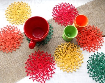 Colourful Doilies Set, 8 Bright Crochet Coasters Set for Easter Table Decoration, Green Orange Red Yellow Coasters, Gift for Easter