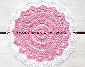 9 inch Doily, Handmade Crochet Round Doily, Light Purple and White Doily, White Tablecloth, Table Decoration, Gift for Her, Housewarming