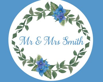 Blue Violets Wedding stickers customised personalised for your celebration