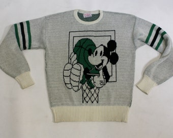 Vintage 1980's Disney Cliff Engle Mickey Mouse Basketball Sweater, Size Medium