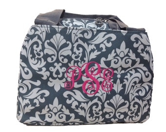 Monogrammed Lunch Box/ Damask Print/ FREE MONOGRAM