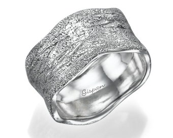 wide wedding band unique wedding ring 14k white gold ring glitter ring - Wide Band Wedding Rings