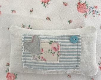 French linen lavender pillow blue heart