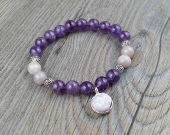ON SALE!!!Bracelet amethyst and violet spot jasper - lavander amethyst charms
