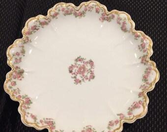 Antique Haviland France Limoges Schleiger 270 Scalloped Dish or Bowl with Pink Rose Swag Garlands