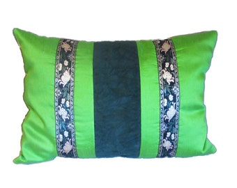 Bohemian pillow cover green, spring decorative pillow cover green dupioni silk, lumbar pillow cover green, bohemian decor green