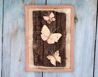 Butterfly wall art, Butterfly wall decor, Nature wall art, Butterfly bark art, Butterfly artwork, Reclaimed wood wall art, Rustic wall decor