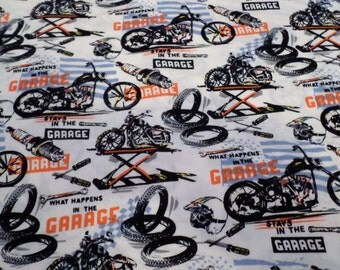 What Happens In The Garage Stays In The Garage Fabric/ 100% Cotton / Sold by the Yard