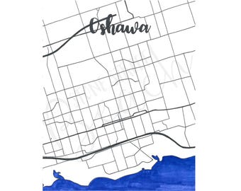 DIGITAL DOWNLOAD Hand drawn map of Oshawa, Ontario, Canada. Scale map in black and white, with watercolour Lake Ontario. Cursive letter