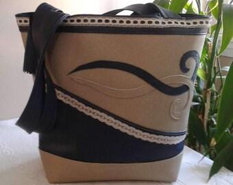 Beige & Navy leather tote handbag
