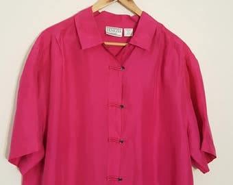 XL XXL SILK hot pink fushia blouse / Venezia / Designer / Button Down