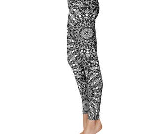 Black Yoga Leggings - Black Leggings, Black and White Printed Leggings, Mandala Art Tights, Black Stretch Pants