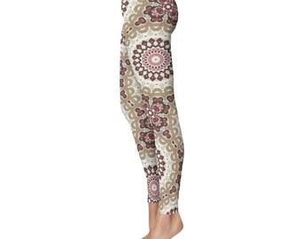 Boho Yoga Pants - Unique Mandala Leggings, Nature Inspired Mandala Art Tights, Bohemian Leggings