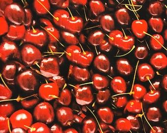 Cherry fabric, photography style fabric, summer fruit fabric, fruit fabric, novelty fabric, summertime, cherries, food fabric