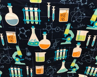 Science lab fabric, chemistry, beaker, DNA, lab, science experiment, microscope fabric, novelty fabric, classroom, blue fabric