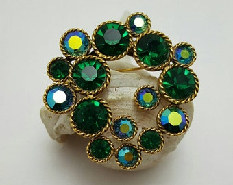 Green And Iridescent Stone Pin