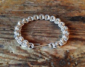 Heavy Silver Bracelet double rings medieval Vikings