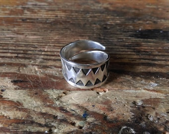 Viking ring fine silver stamped open form