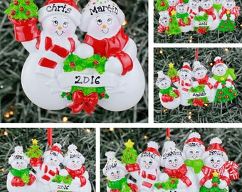 Personalised Christmas Tree Decoration - Snow Family