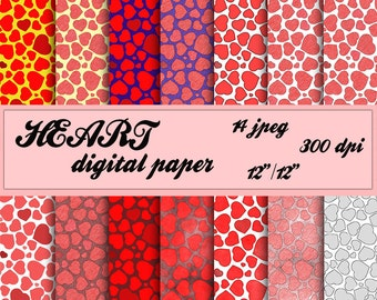 Valentine's day Paper Pack Heart Digital paper Pencil heart Digital background heart pattern for Personal and Commercial use
