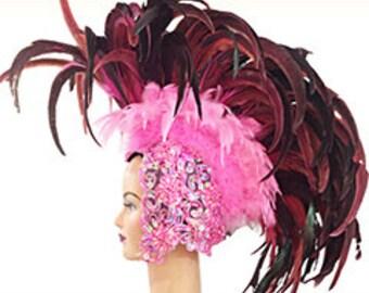 Feather Headdress - Showgirl Mohawk - Feather Headdress, Mohawk Headdress, Coiffe Plume, Mohawk Kopfschmuck, Mohawk Feather Headdress