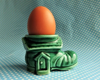 Vintage ceramic green boot egg cup by Campsie ware
