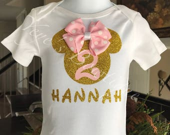 Minnie Mouse Birthday Shirt | Pink and Gold Minnie Mouse birthday Onesie | 1st 2nd 3rd 4th 5th